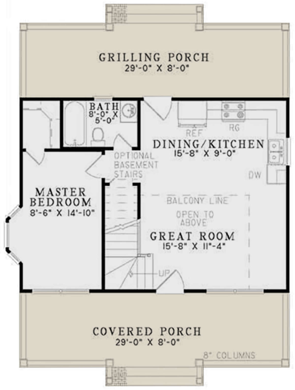 House Plan 110 00632 Small Plan 975 Square Feet 2 Bedrooms 1 Bathroom Tiny Houses Plans With Loft Small House Plans Log Cabin Floor Plans