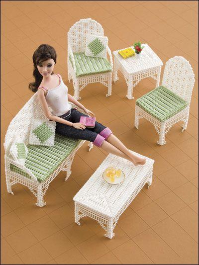 Fashion Doll Wicker Furniture ~   plastic canvas pattern