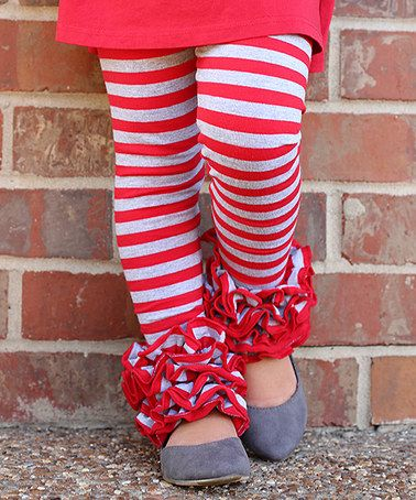 5f699ef1c5c263 Look at this #zulilyfind! Red & Gray Stripe Icing Leggings - Infant &  Toddler by Sew Sassy Boutique #zulilyfinds
