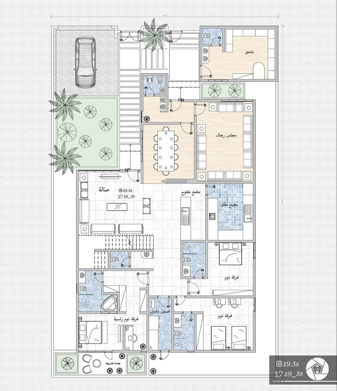 South Studio On Instagram تصميم فيلا سكنية بمساحة ٣٢٣م٢ تصميم تصميم داخلي تصميم معماري تصميمي تص Model House Plan Basement House Plans Family House Plans