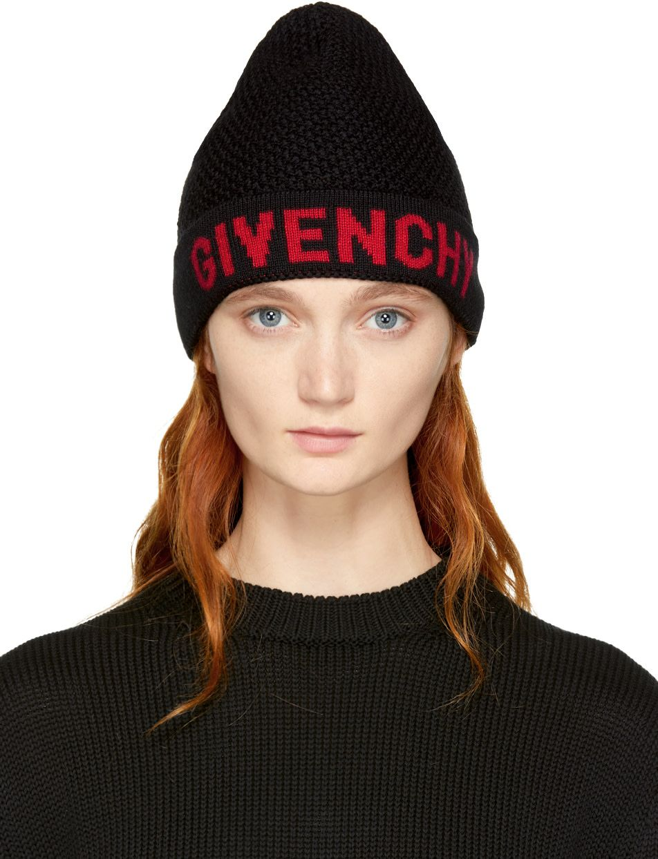 57bd076c Givenchy - Black & Red Logo Beanie | Accessories | Red logo, Beanie ...