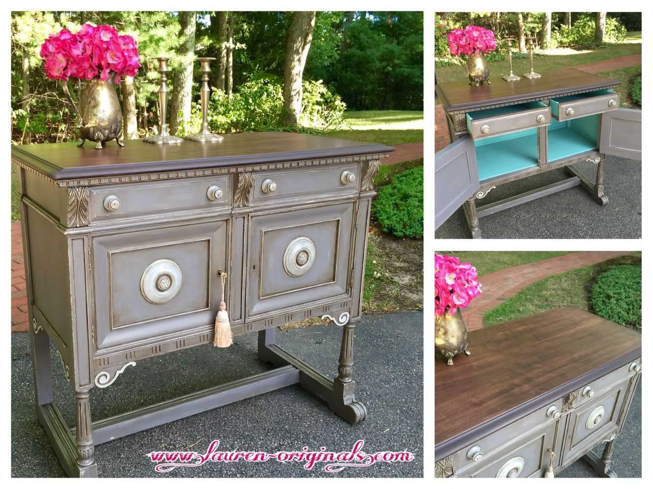Hand Painted and Distressed Gray Buffet General Finishes