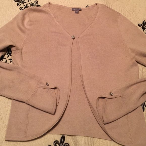 Ann Taylor Shrug Tan Crystal Buttons Hook Close | Shrug sweater ...