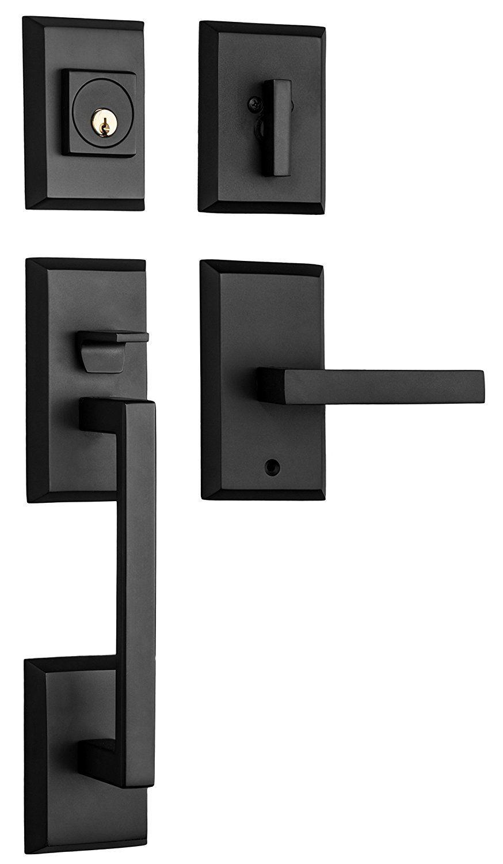 Rockwell Premium Zenia Solid Brass Entry Door Handle Set With Delta Lever In Oil Rubbed Bronze Finish For 5 1 2 Entry Door Handles Door Handle Sets Entry Doors