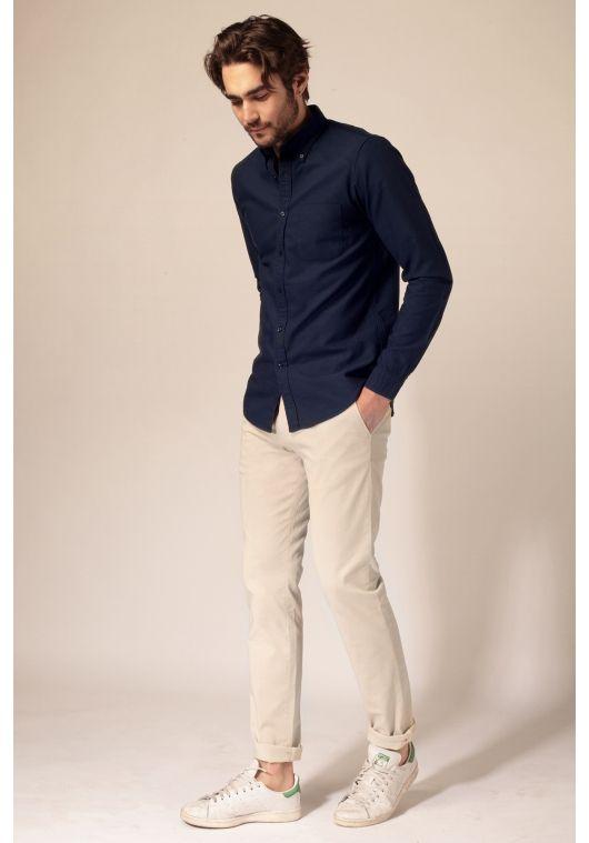 Lepantalon Pantalon Chino Beige Clair Ropa Casual De Hombre Combinar Ropa Hombre Combinacion De Ropa Hombre
