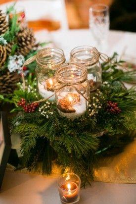 Christmas Pinecone Decor In Winter Wedding Christmas Wedding Table