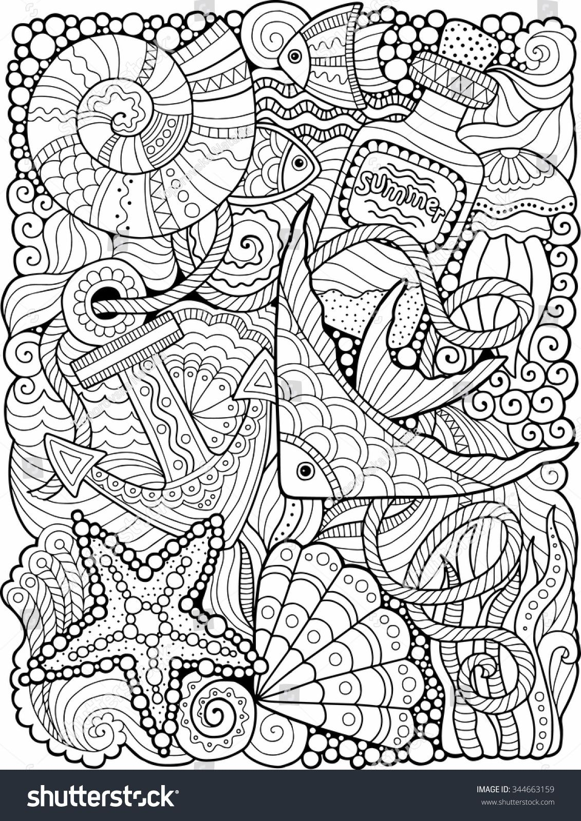 Vector coloring book for adult summers sea flowers adult