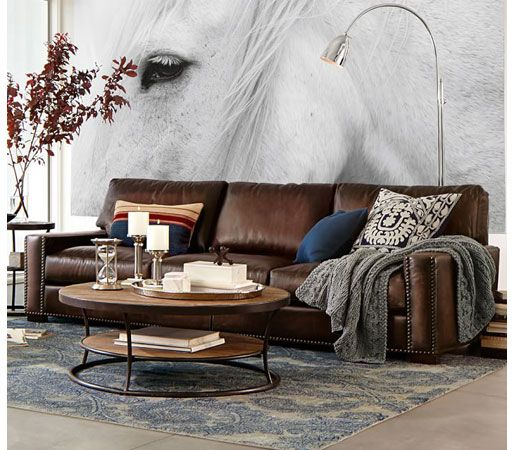 Pottery Barn Turner Square Arm Leather Sofa With Nailheads Williams Sonoma Inc To The Trade Produ Brown Living Room Couches Living Room Living Room Sofa
