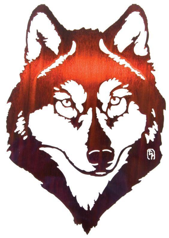 Wolf Portrait Laser Cut Metal Wall Art: