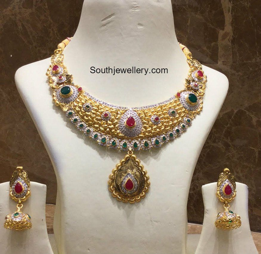 CZ Gold Necklace and Jhumkis Set Gold jewellery Pinterest