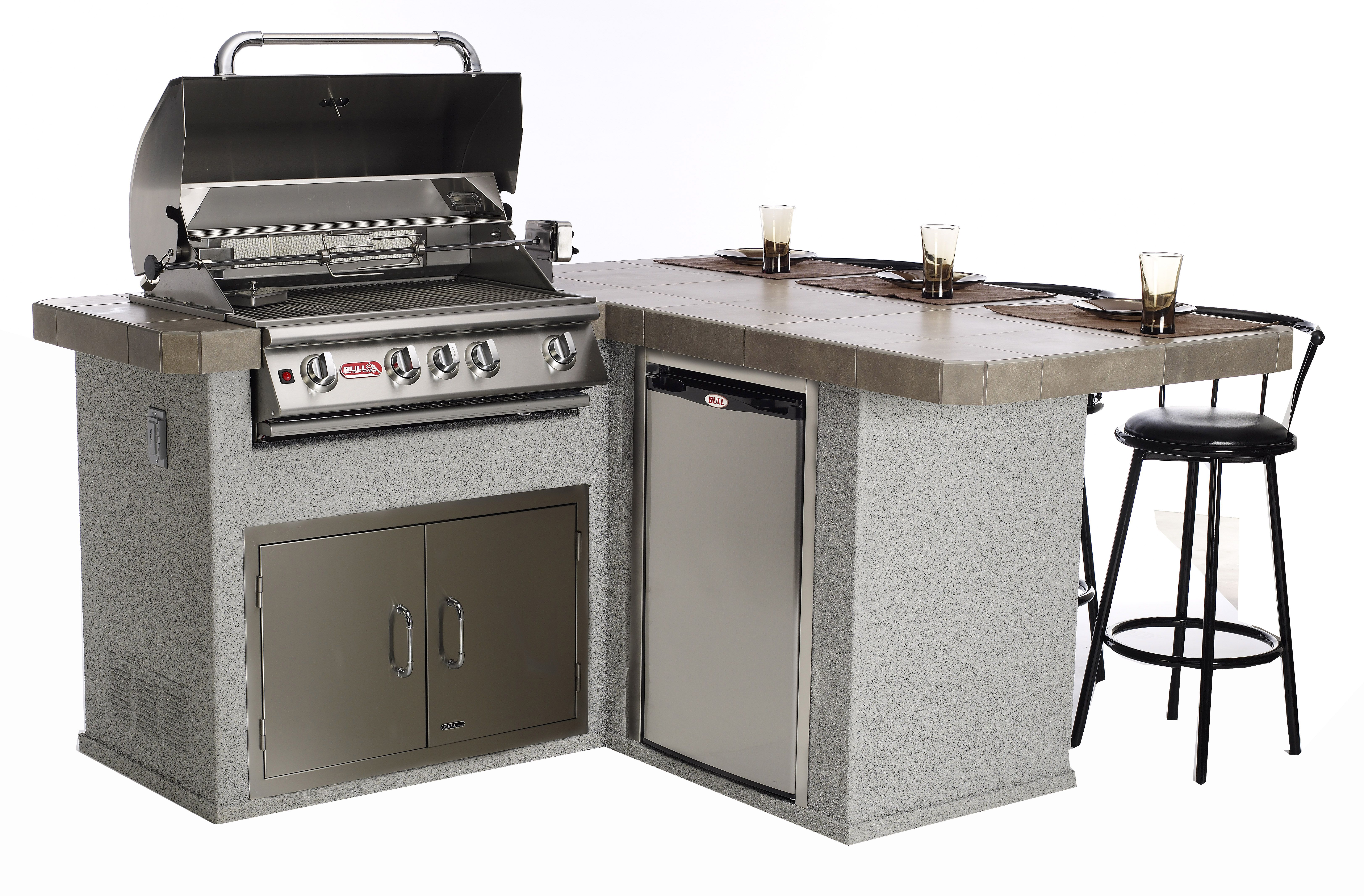Little Q Outdoor Island Kitchen. Standard Features include: Angus BBQ  Stainless Steel 4-