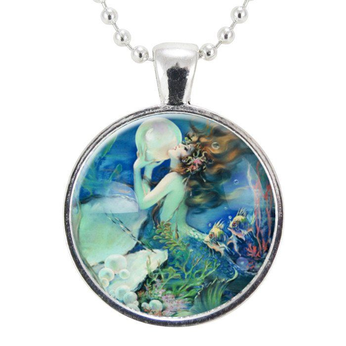 Blue Mermaid Necklace, Homemade Mermaid Jewelry