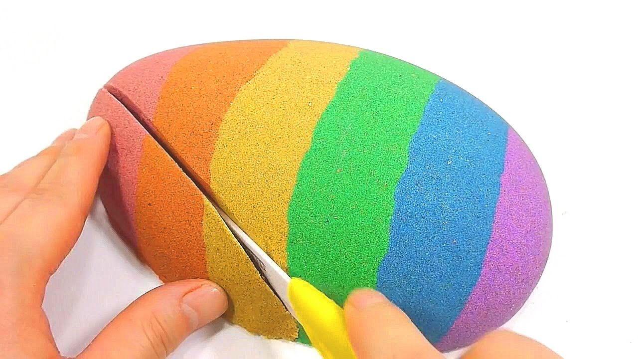 DIY How To Make \'Rainbow Colors Kinetic Sand Egg Cake\' Learn Colors ...
