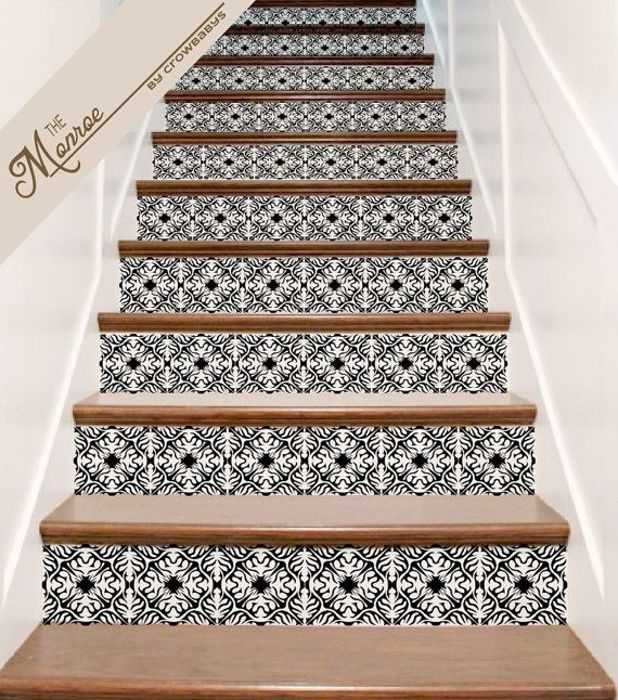 stair decals ornate vinyl tile decal decor for stair riser stickers the monroe home. Black Bedroom Furniture Sets. Home Design Ideas