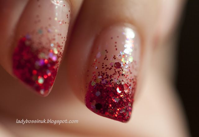 red nails with glitter - Google Search