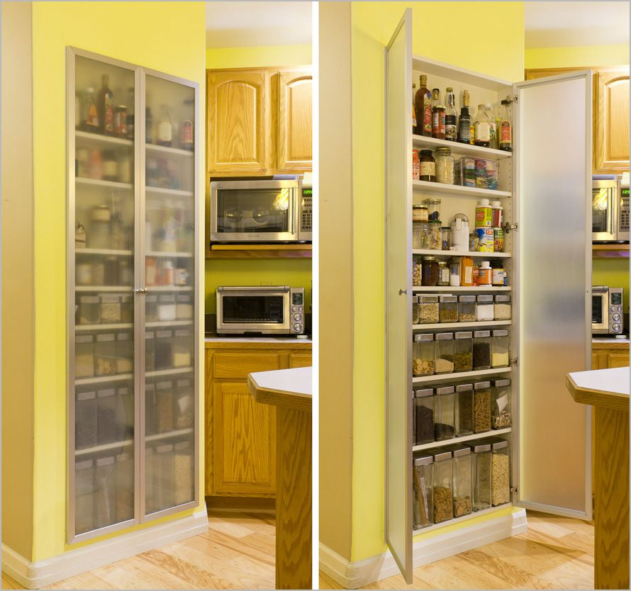 Small Kitchen Pantry Ideas Part - 30: Cool And Practical Pantry Cabinet Design Ideas Simple Long Wooden Wall Kitchen  Pantry Cabinet Made With Frosted Glass Door