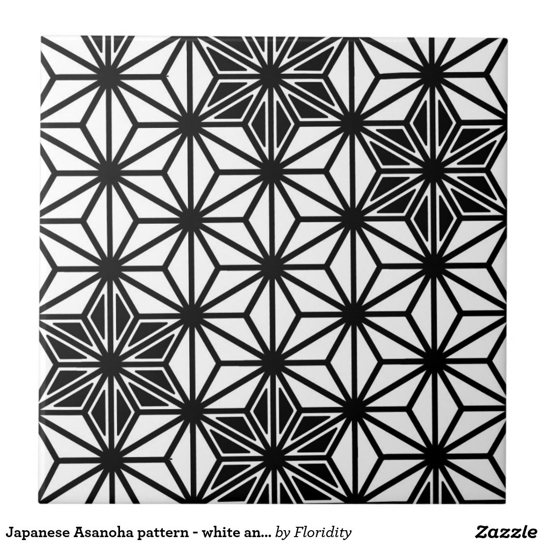 Japanese Asanoha Pattern White And Black Large Square Tile