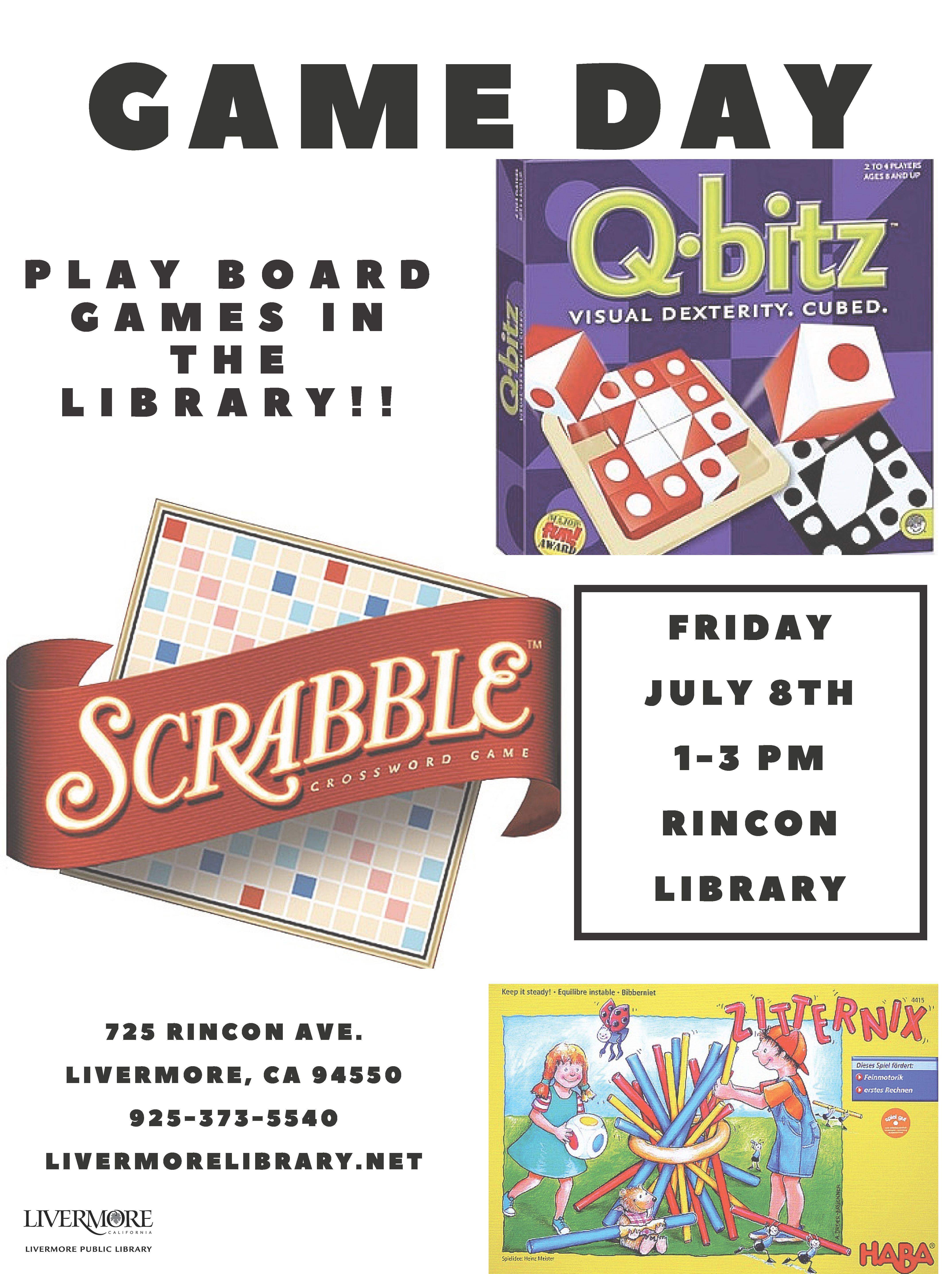 We will be playing board games at Rincon Library July 8