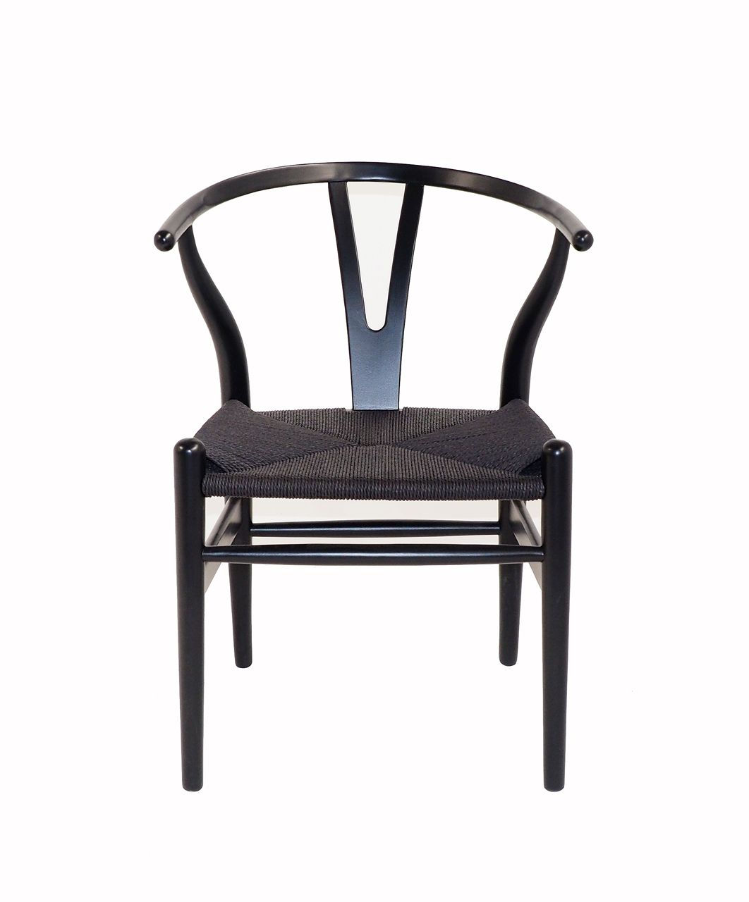 Milano Republic Furniture   Replica Hans Wegner Wishbone Chair   Black  Frame (grain Not Visible