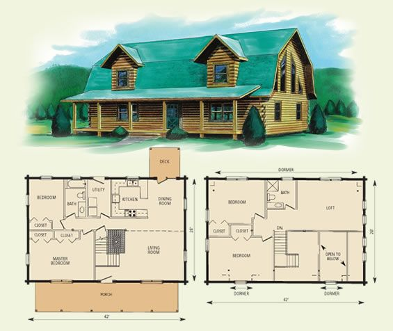 Gambrel style barn homes jefferson ii log home and log for Log cabin floor plans with 2 bedrooms and loft