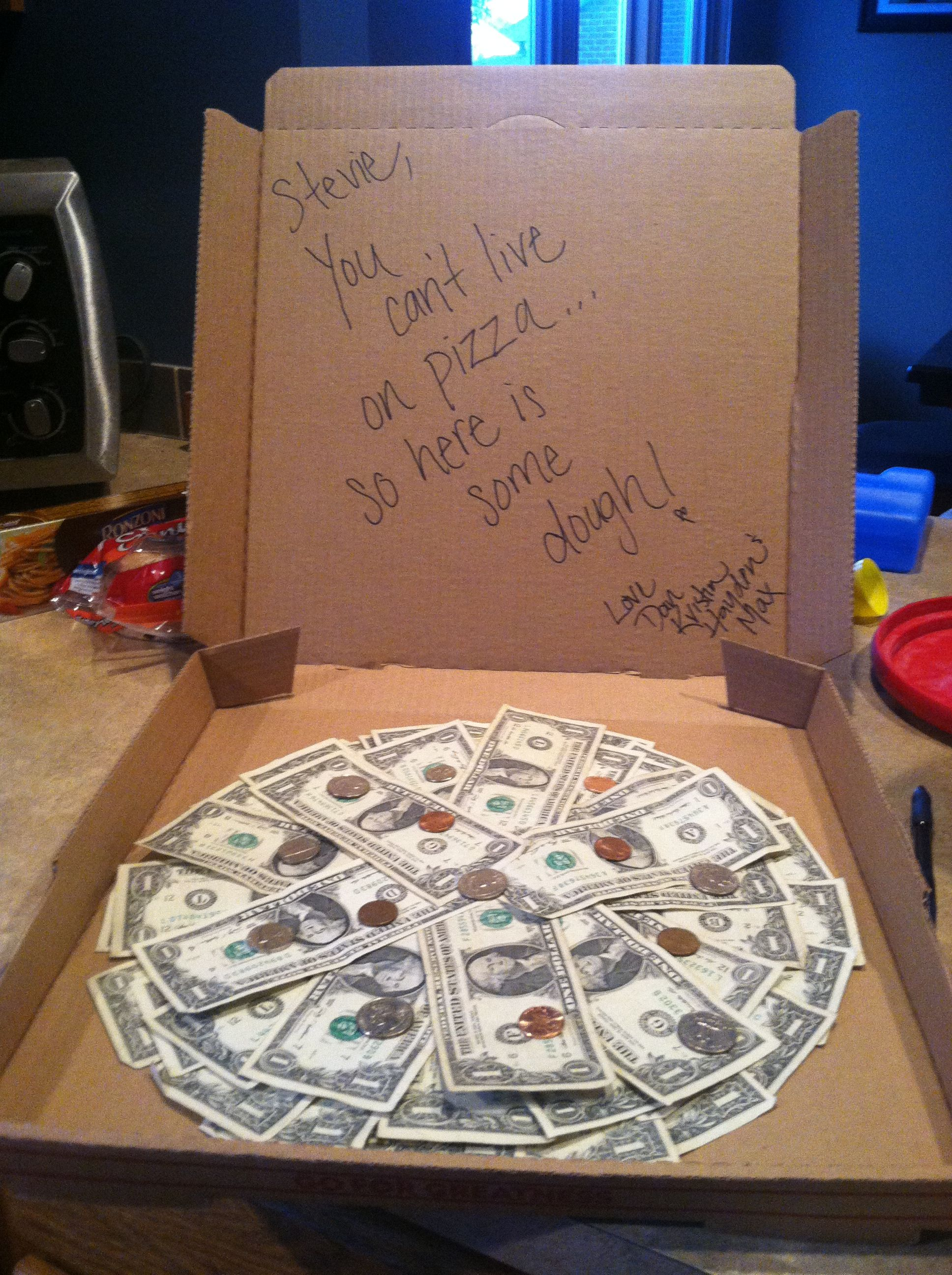 money gift in pizza box instead of red packet | Cute stuff! | Gifts ...