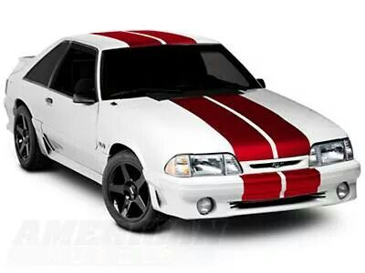 White With Red Racing Stripes Racing Stripes Mustang Hatchback