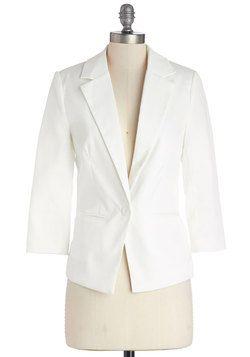Dapper Date Blazer in White, #ModCloth
