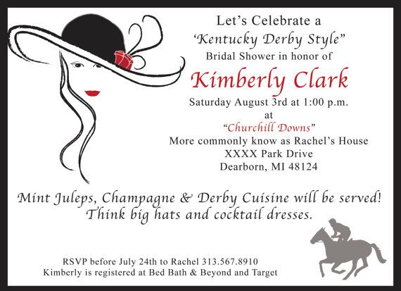 Kentucky derby bridal theme shower invitation each with kentucky derby bridal shower invitation by trishadesigncreation 145 stopboris Image collections