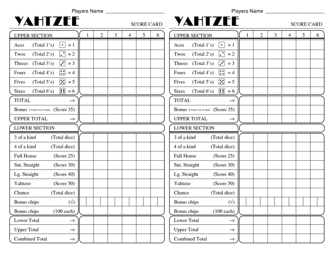 Yahtzee Score Card Pdf Ownerletter Co