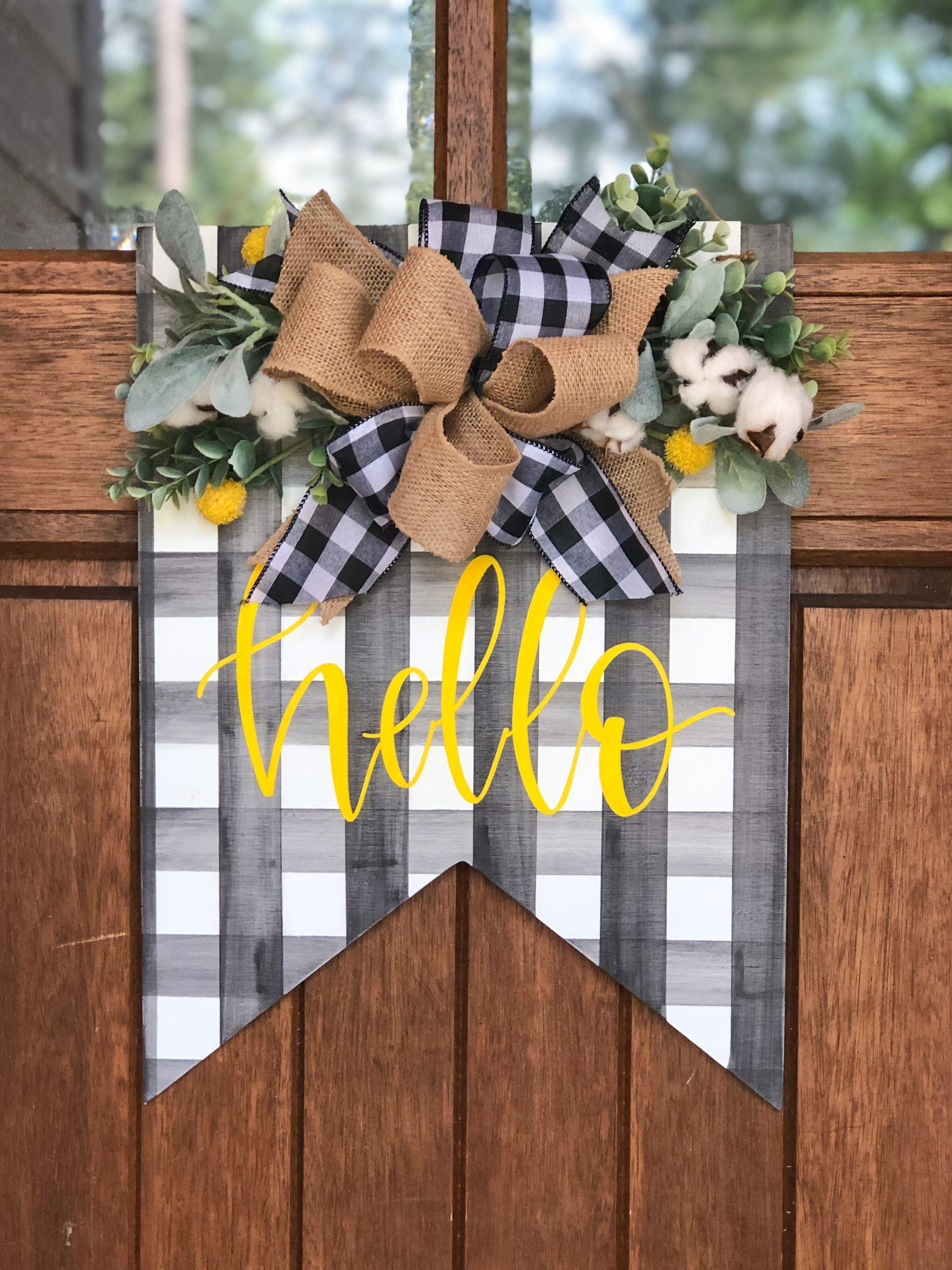Buffalo Plaid Home State Wooden Door Hanger Wreath