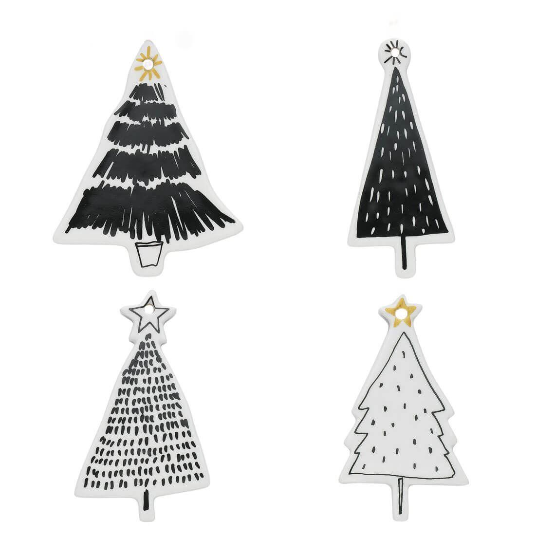 Celebration Tree Ornament Set Of 4 White Black With Images Diy Christmas Ornaments Christmas Diy Handmade Christmas Ornaments