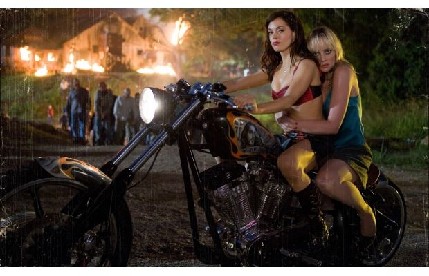 One Badass Girl, one super Badass Bike and a sidekick, LOL Rose McGowan on West Coast Choppers Grindhouse Chopper (custom-built)