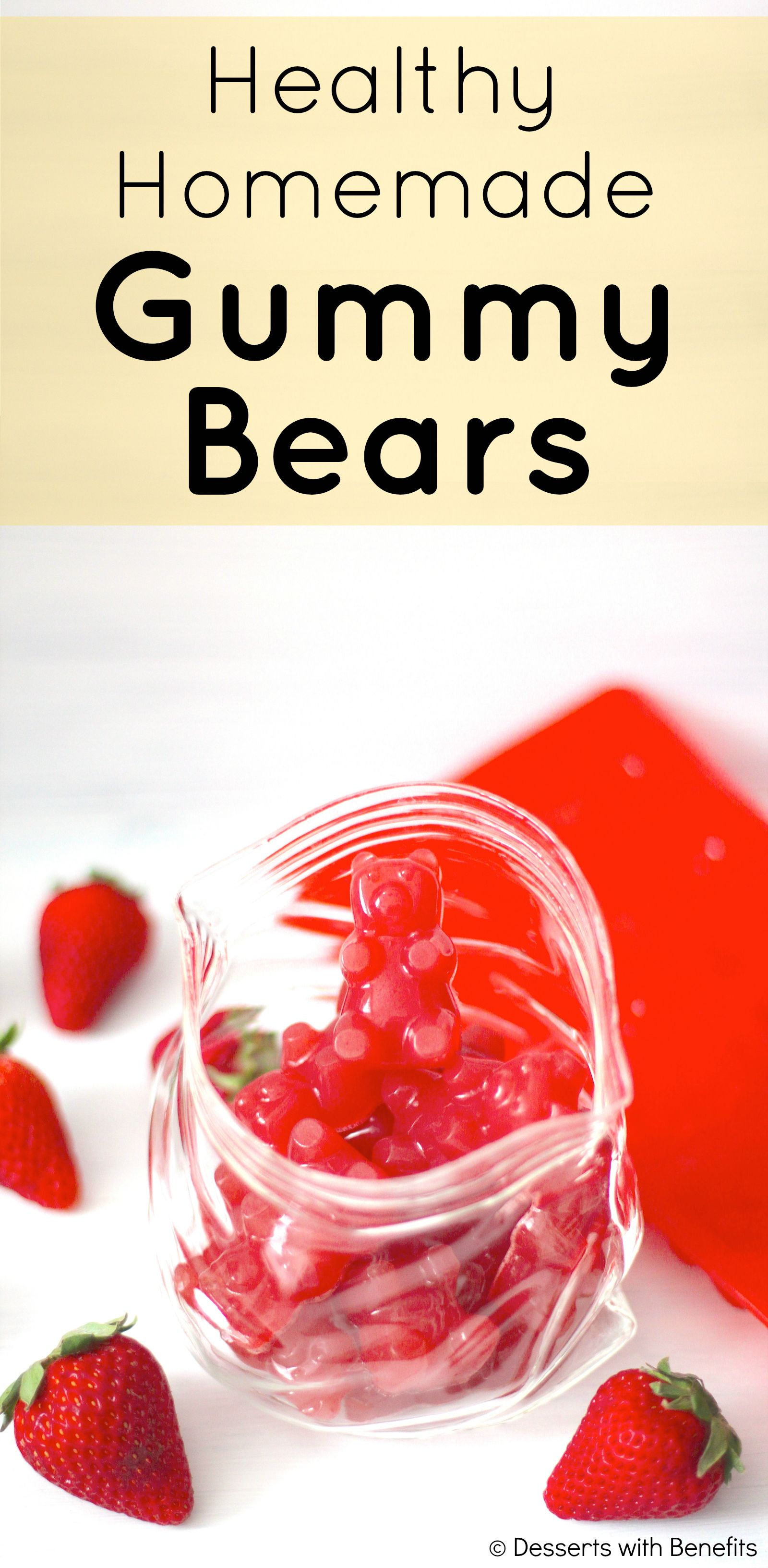 Healthy Homemade Strawberry Gummy Bears Recipe Homemade Gummy Bears Food Snacks