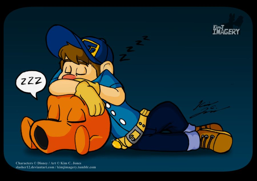 Sleeping Good Guys by Slasher12.deviantart.com on @DeviantArt #disney #felix #fix #jr #It #wreckitralph #fixitfelix Felix and Qbert taking a nap. Did this while watching Wreck-it Ralph.