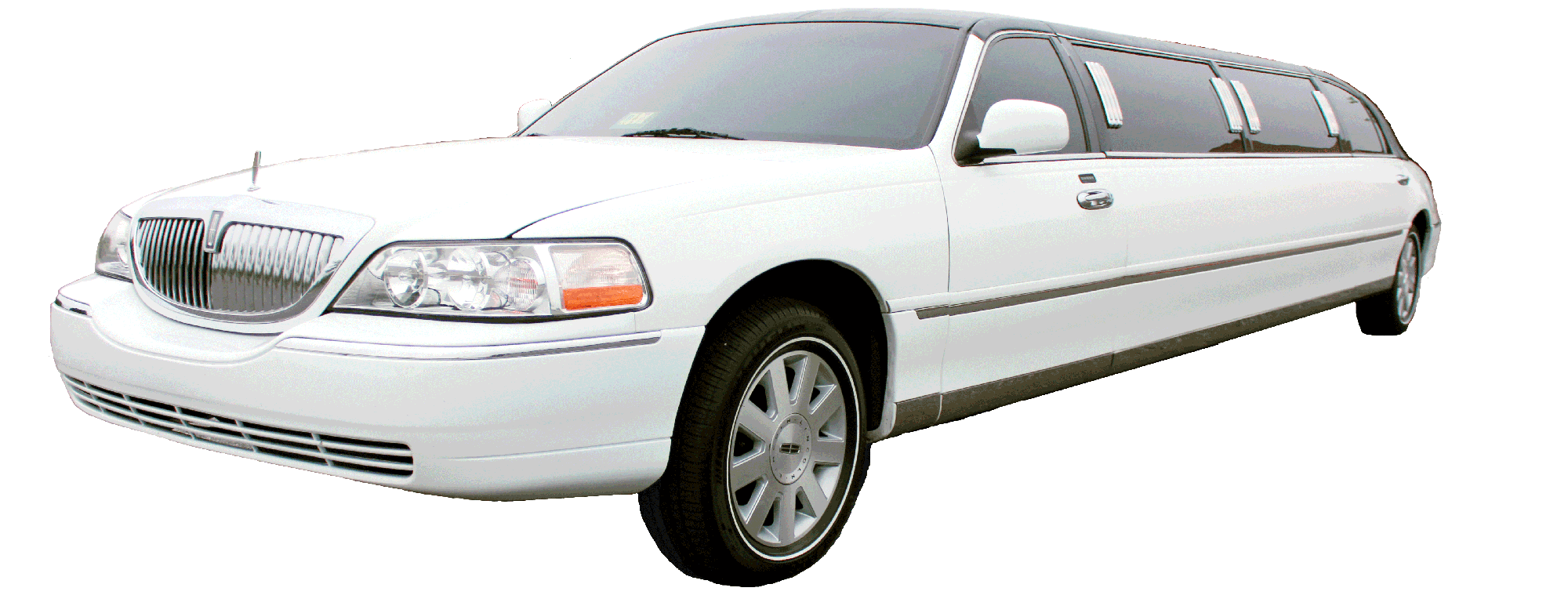 Image Of A White Lincoln Town Car Stretch Limo With A Black Top