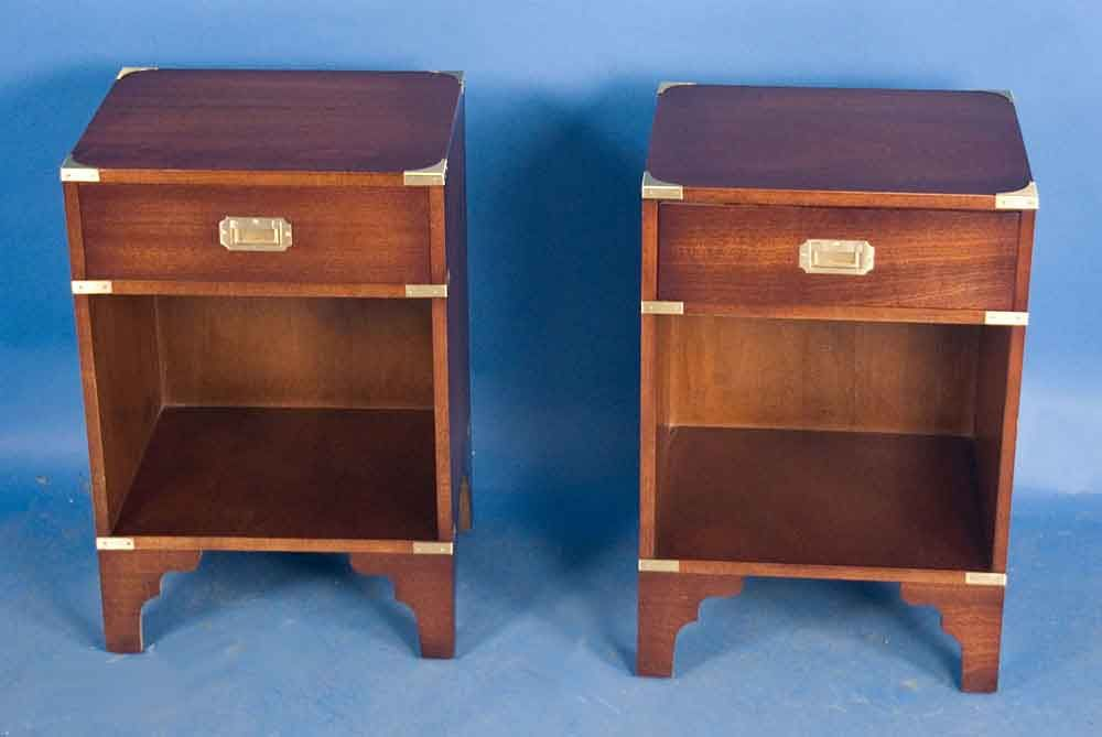 Best Pair Of Campaign Style Mahogany Bedside Tables For Sale 400 x 300