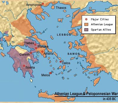 This map shows the territories of the Athenian forces and Spartan ...