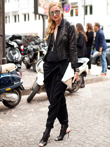 Fall 2013 Couture Week Street Style: Elizabeth, wearing a Dries van Noted top and a Simon Rogers skirt