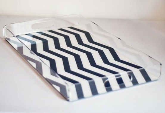 Love this! Chevron Stripe Lucite Serving Tray - Large from TillyMaison on Etsy.