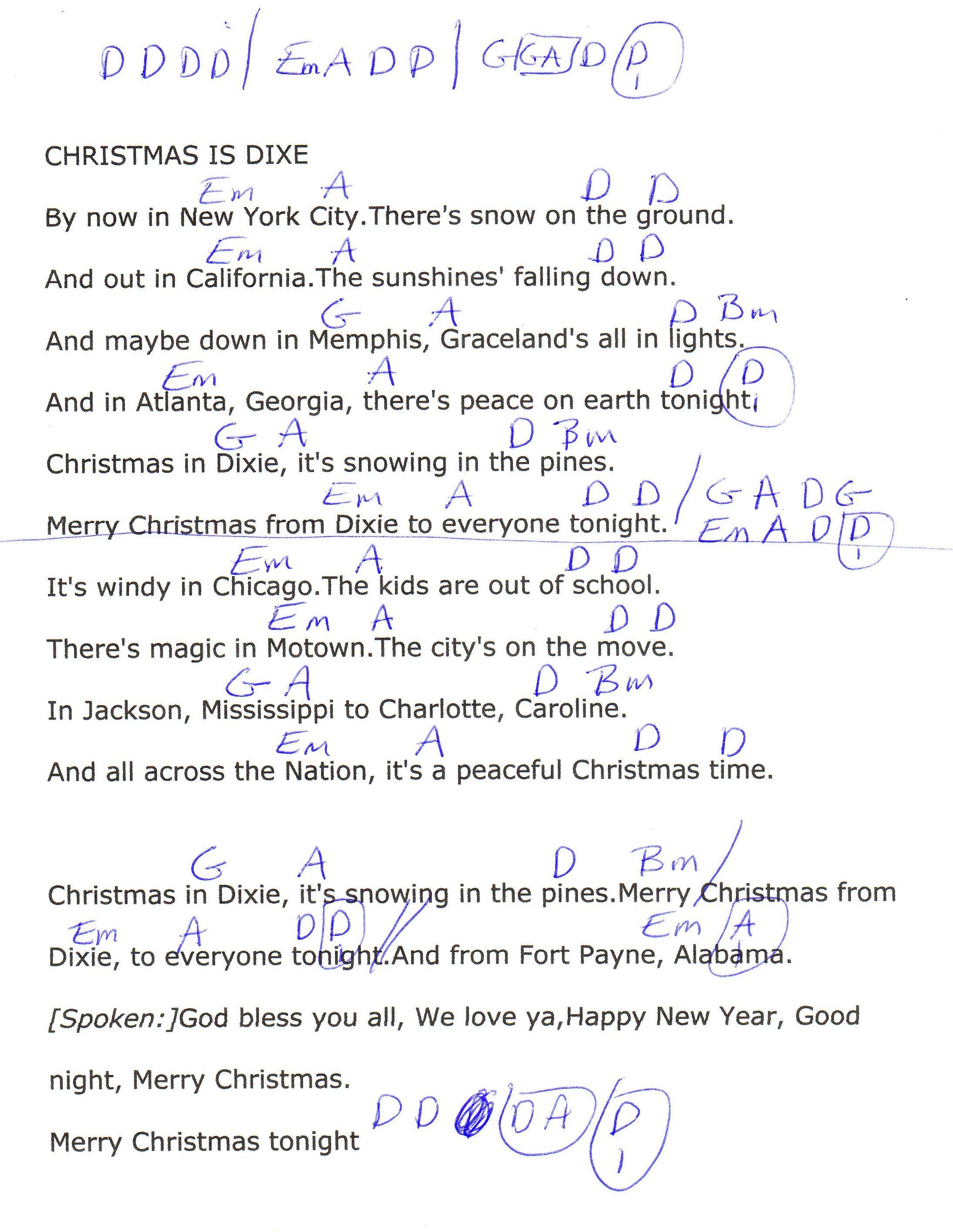 Christmas In Dixie Alabama Guitar Chord Chart Christmas Chord