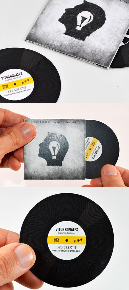 Interactive Vinyl Record Business Card For A Graphic Designer ...
