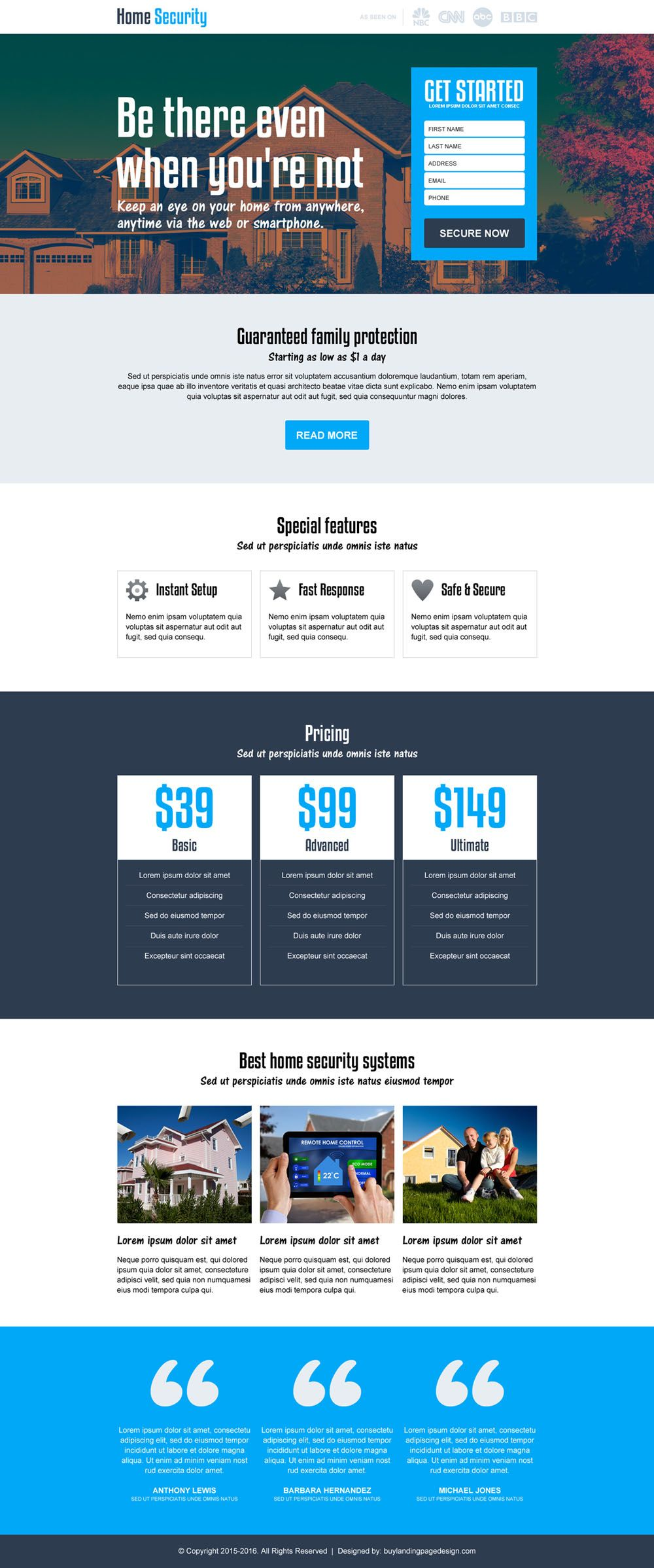 Beautiful Best Home Security Lead Capturing Landing Page Design Template