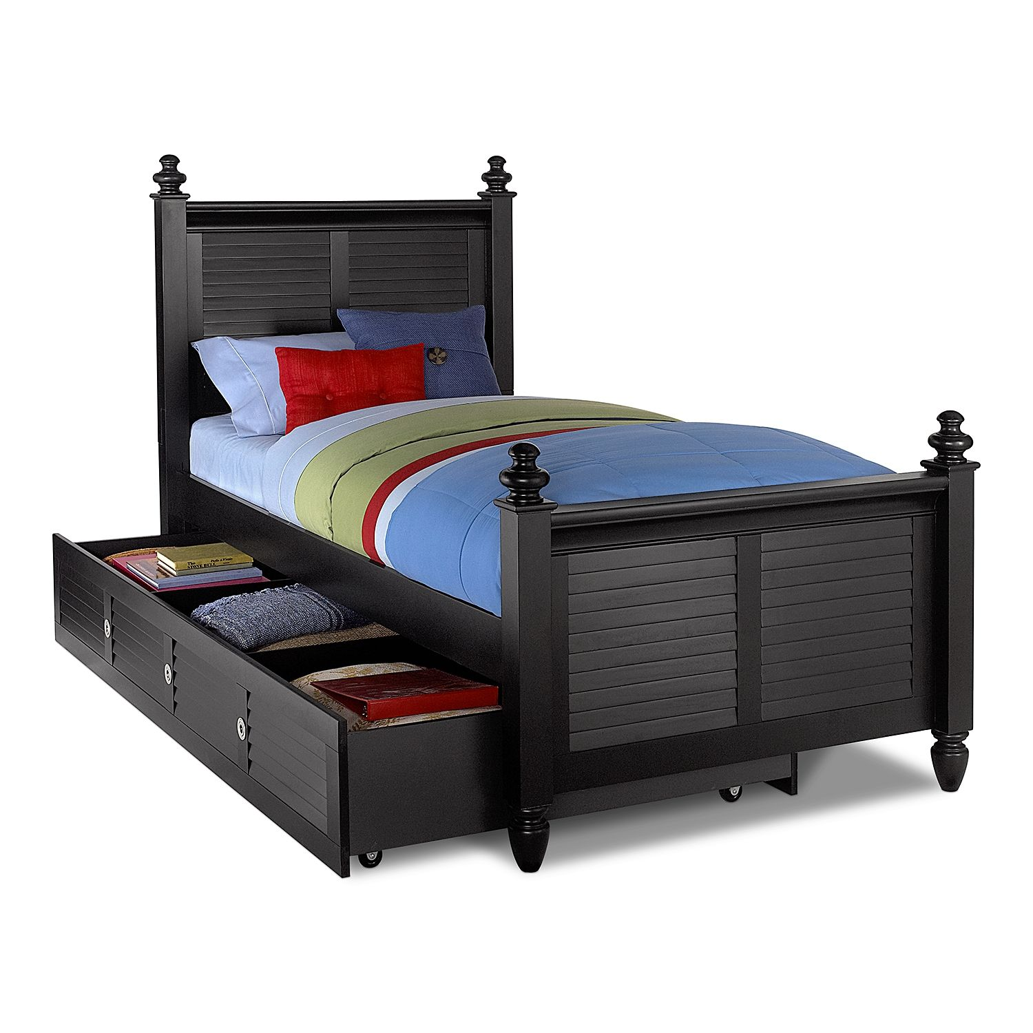 Kids Furniture Seaside Black Twin Bed With Trundle For The Boys