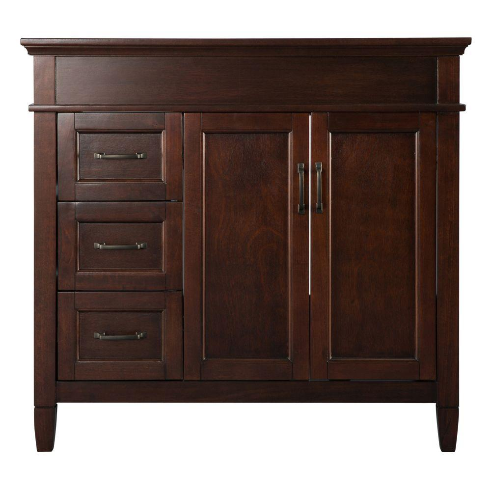 Home Decorators Collection Ashburn 36 In W Bath Vanity Cabinet Only In Mahogany A Home Depot Bathroom Vanity Home Depot Bathroom Traditional Bathroom Cabinets