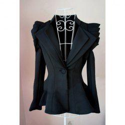 Be Jealous Womens Casual Peplum One Button Plain Spikes Ladies Frill Jacket Coat Blazer Top