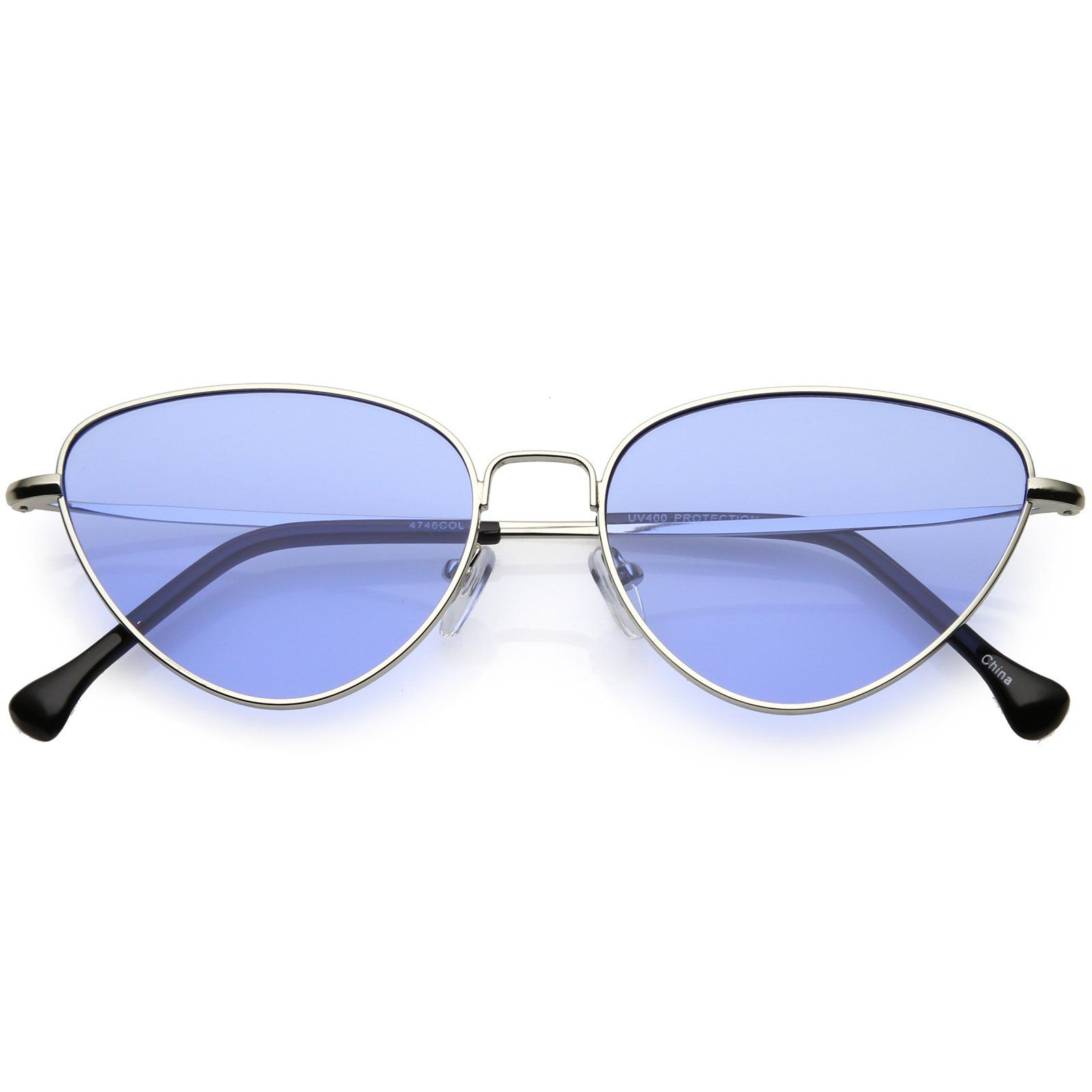 8a68b882c1 Women s Slim Metal Cat Eye Sunglasses Color Tinted Flat Lens 54mm  sunglass   sunglasses