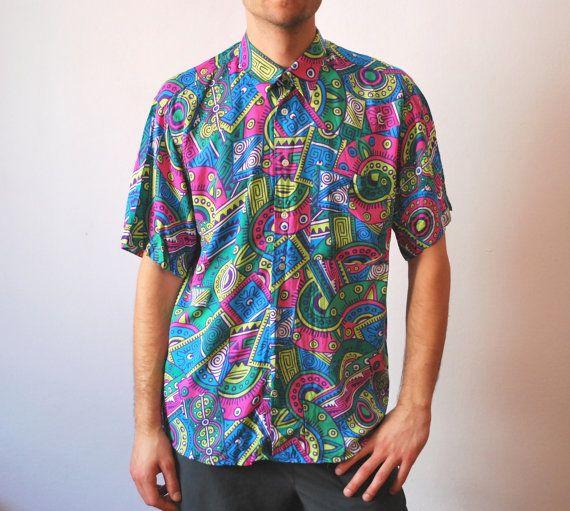 Vintage Colorful Neon Shirt 90s Men Unisex Size Medium Large Colorful Shirts Shirts Neon Shirts