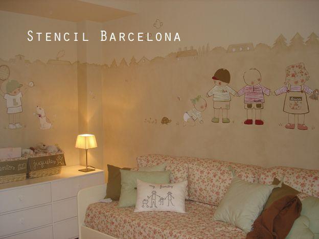 Habitaciones infantiles decoradas con pintura de stencil barcelona habitaciones infantiles - Habitaciones infantiles decoradas ...