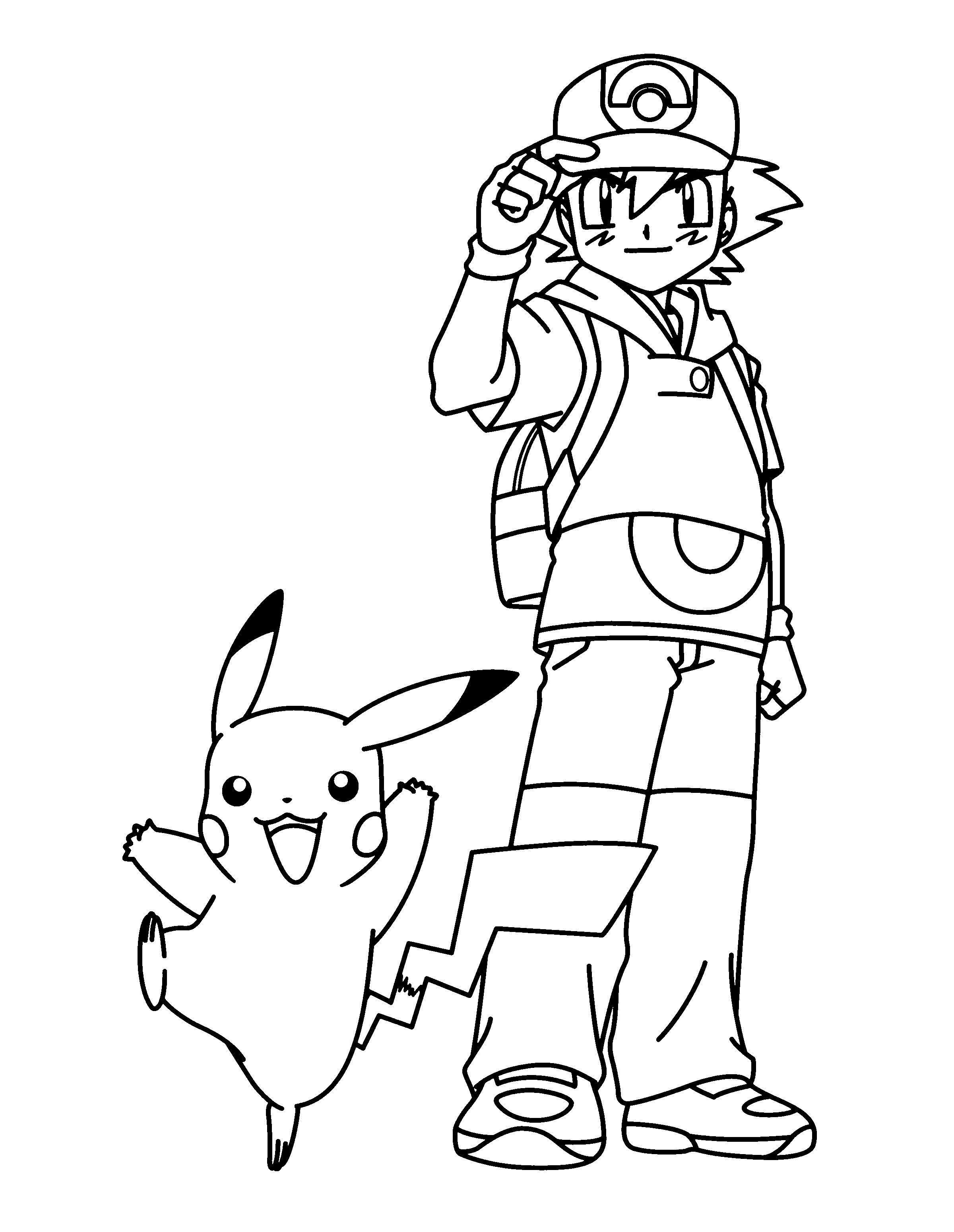 Pokemon Ash Ketchum Coloring Page Pokemon Coloring Pikachu