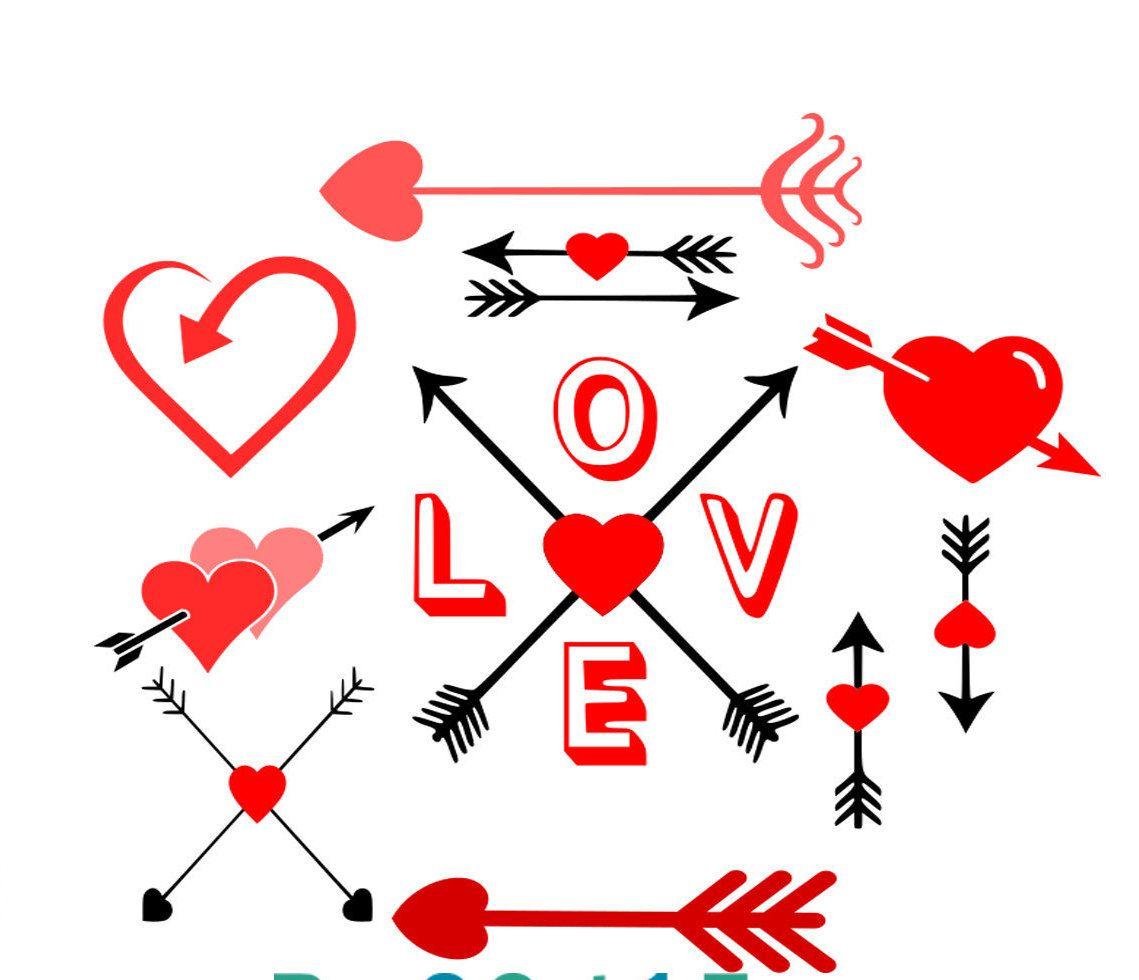 Download Love Arrows SVG/studio3/DXF/Eps Silhouette Arrow Cut Files ...